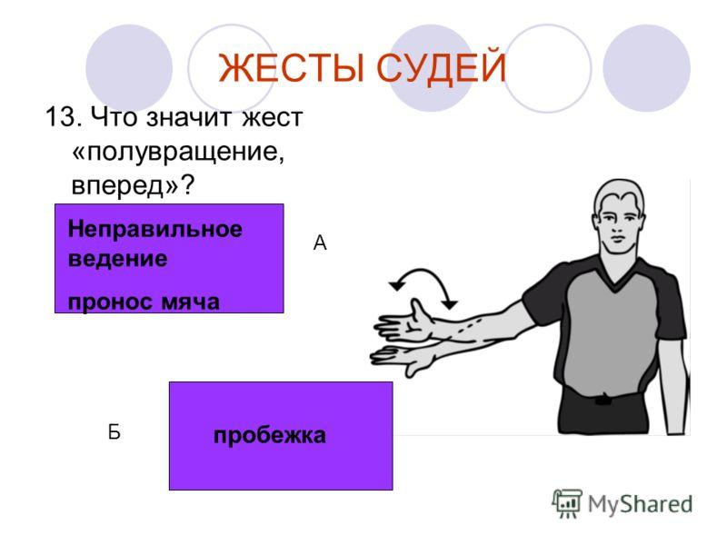 ЖЕСТЫ СУДЕЙ 13. Что значит жест «полувращение, вперед»? Неправильное ведение пронос мяча пробежка А Б