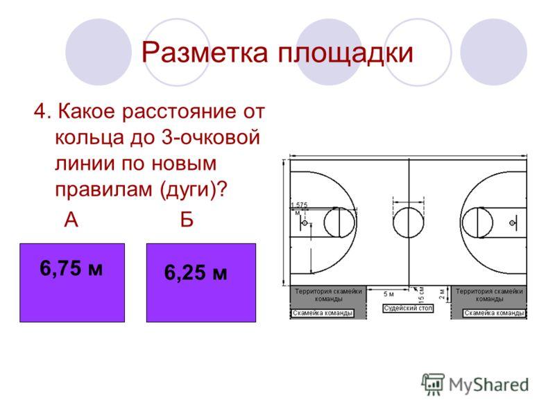 Разметка площадки 4. Какое расстояние от кольца до 3-очковой линии по новым правилам (дуги)? А Б 6,75 6,25 6,75 м 6,25 м