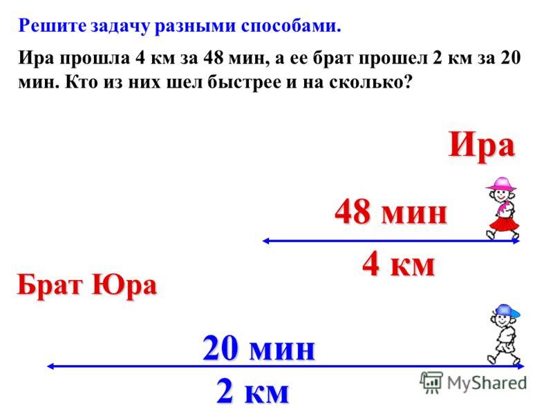 Ира прошла 4 км за 48 мин, а ее брат прошел 2 км за 20 мин. Кто из них шел быстрее и на сколько? 48 мин 48 мин 4 км 4 км 20 мин 2 км 2 км Ира Брат Юра Решите задачу разными способами.