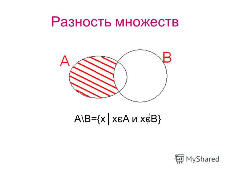 Разность множеств А\В={ххєА и хєВ}