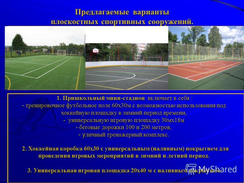 Предлагаемые варианты плоскостных спортивных сооружений. 1. Пришкольный мини-стадион включает в себя : - тренировочное футбольное поле 60х30м с возможностью использования под хоккейную площадку в зимний период времени, - универсальную игровую площадк
