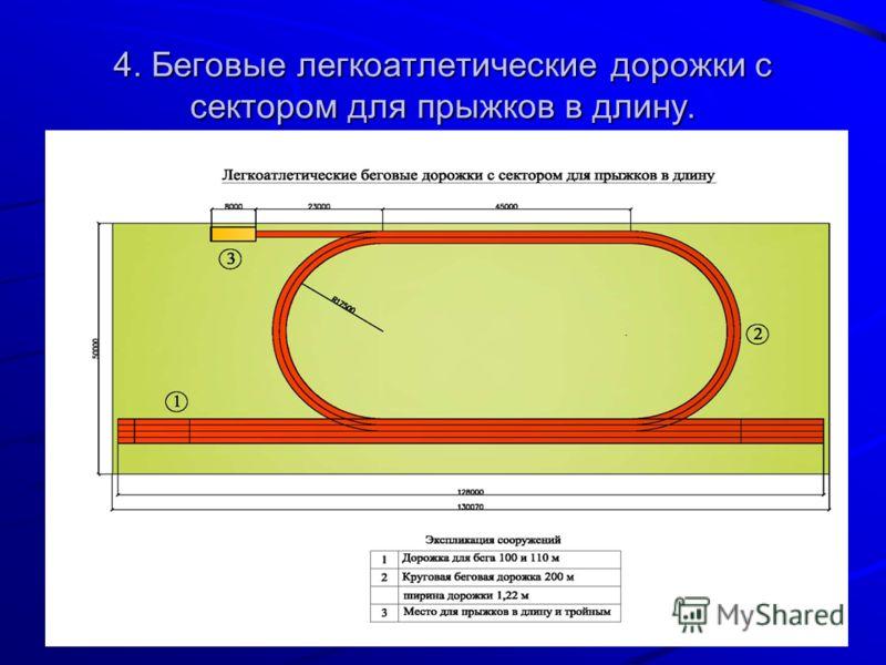 4. Беговые легкоатлетические дорожки с сектором для прыжков в длину.
