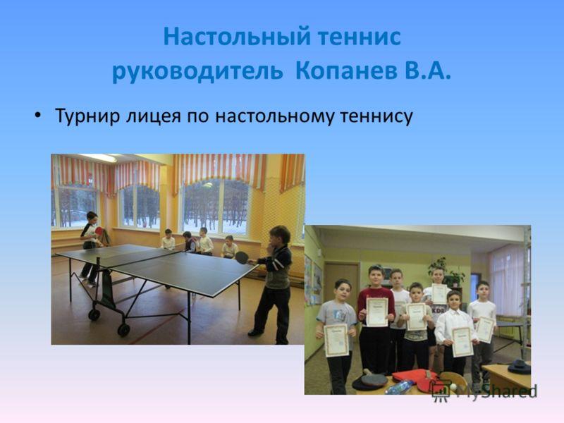 Настольный теннис руководитель Копанев В.А. Турнир лицея по настольному теннису