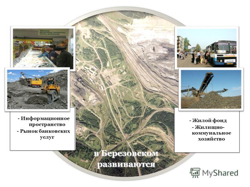- Информационное пространство - Рынок банковских услуг - Жилой фонд - Жилищно- коммунальное хозяйство в Березовском развиваются
