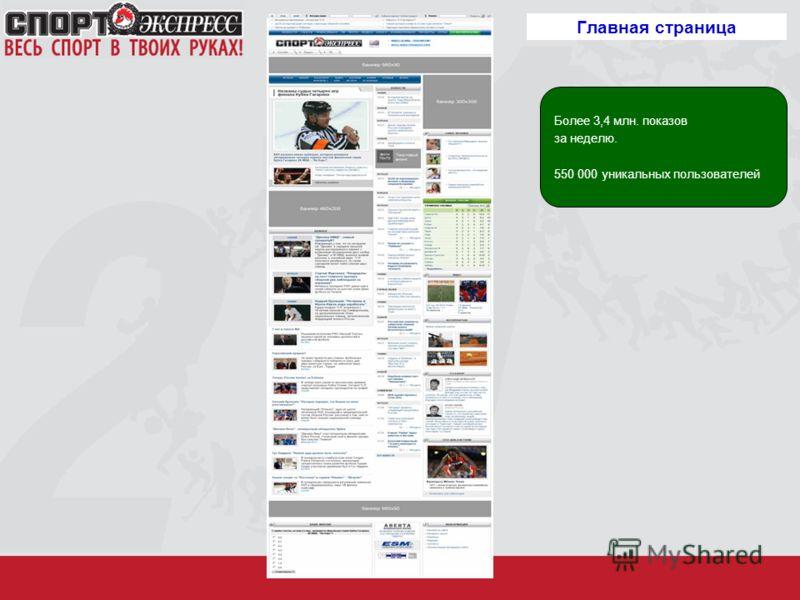 Главная страница Более 3,4 млн. показов за неделю. 550 000 уникальных пользователей