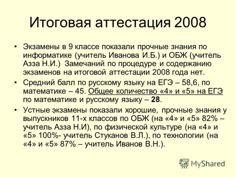 Итоговая аттестация 2008 Экзамены в 9 классе показали прочные знания по информатике (учитель Иванова И.Б.) и ОБЖ (учитель Азза Н.И.) Замечаний по процедуре и содержанию экзаменов на итоговой аттестации 2008 года нет. Средний балл по русскому языку на