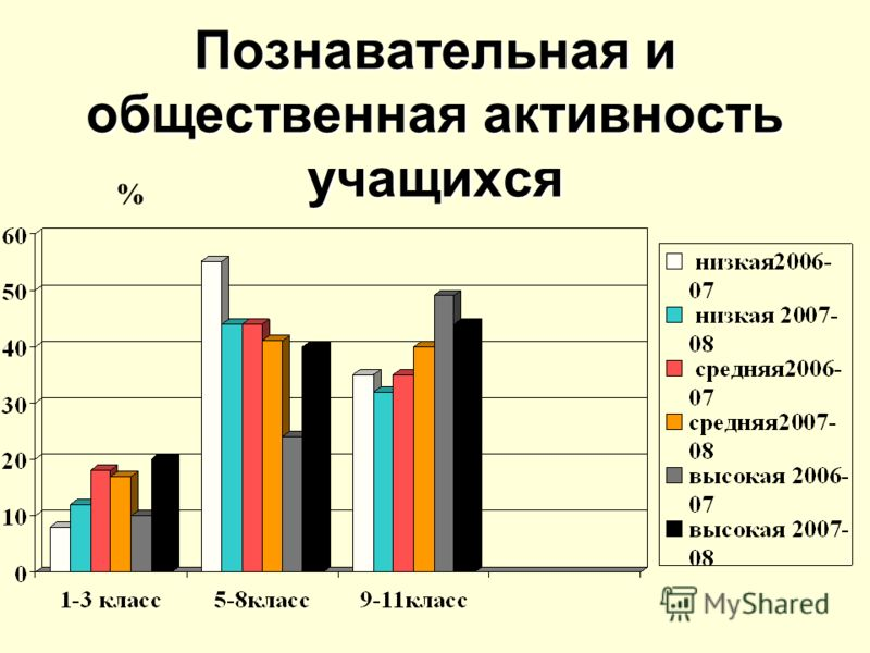 Познавательная и общественная активность учащихся %