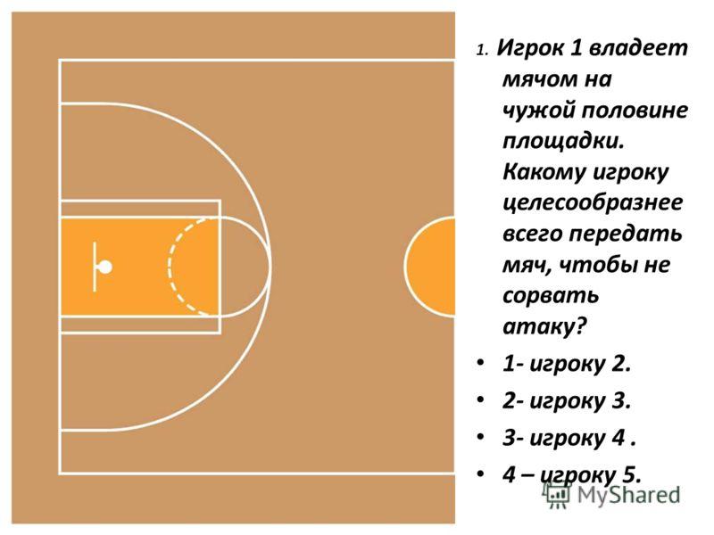 1. Игрок 1 владеет мячом на чужой половине площадки. Какому игроку целесообразнее всего передать мяч, чтобы не сорвать атаку? 1- игроку 2. 2- игроку 3. 3- игроку 4. 4 – игроку 5.