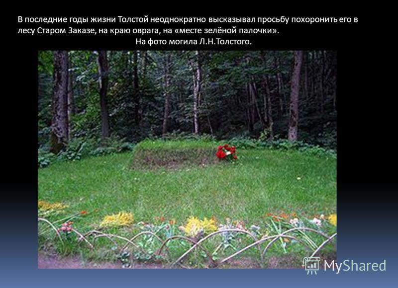 В последние годы жизни Толстой неоднократно высказывал просьбу похоронить его в лесу Старом Заказе, на краю оврага, на «месте зелёной палочки». На фото могила Л.Н.Толстого.