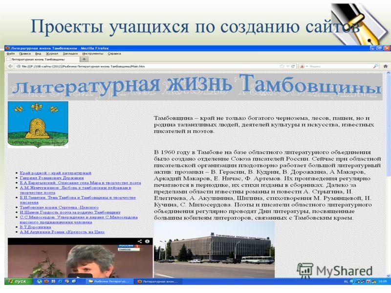 Проекты учащихся по созданию сайтов