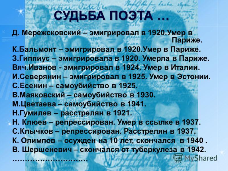 Д. Мережсковский – эмигрировал в 1920.Умер в Париже. К.Бальмонт – эмигрировал в 1920.Умер в Париже. З.Гиппиус – эмигрировала в 1920. Умерла в Париже. Вяч.Иванов - эмигрировал в 1924. Умер в Италии. И.Северянин – эмигрировал в 1925. Умер в Эстонии. С.