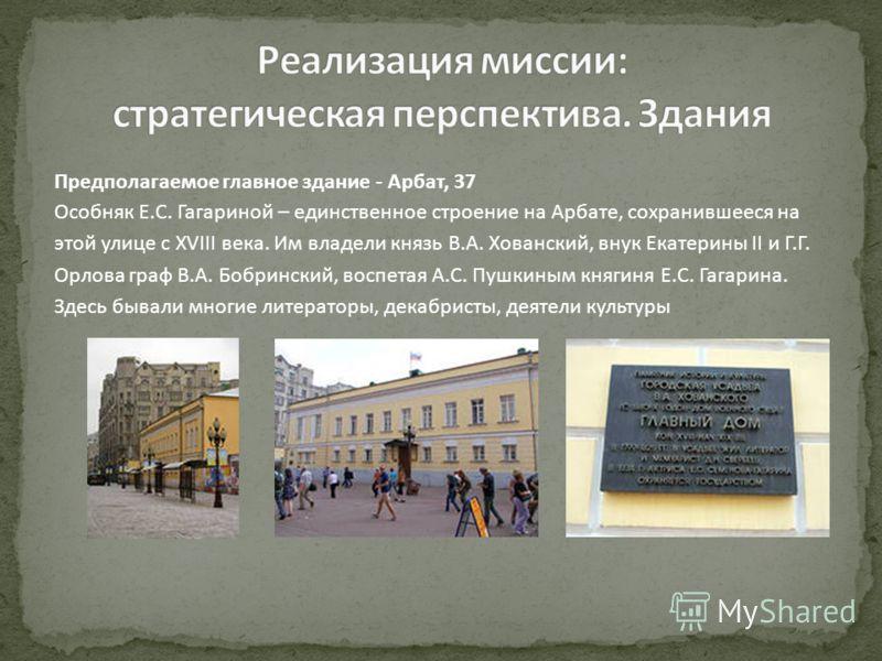 Предполагаемое главное здание - Арбат, 37 Особняк Е.С. Гагариной – единственное строение на Арбате, сохранившееся на этой улице с XVIII века. Им владели князь В.А. Хованский, внук Екатерины II и Г.Г. Орлова граф В.А. Бобринский, воспетая А.С. Пушкины