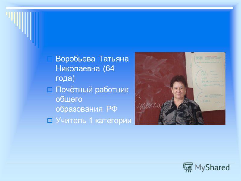 Воробьева Татьяна Николаевна (64 года) Почётный работник общего образования РФ Учитель 1 категории
