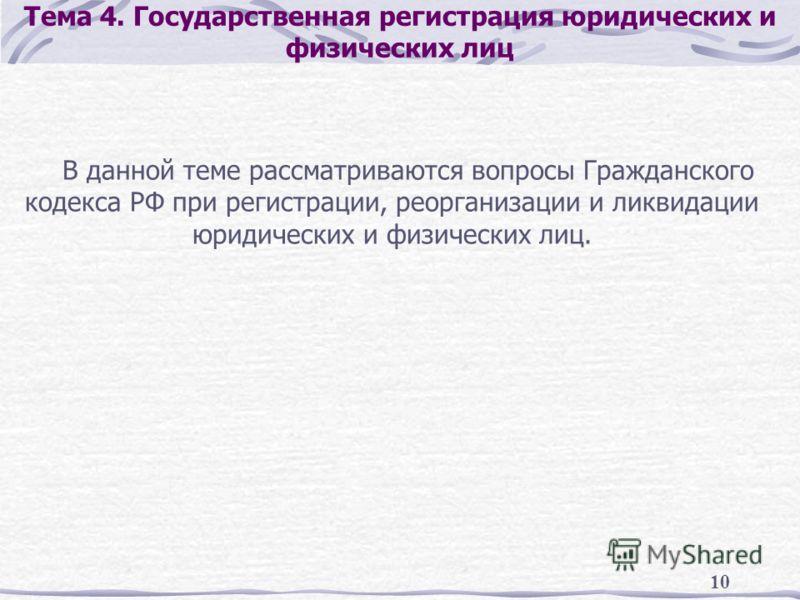 10 Тема 4. Государственная регистрация юридических и физических лиц В данной теме рассматриваются вопросы Гражданского кодекса РФ при регистрации, реорганизации и ликвидации юридических и физических лиц.
