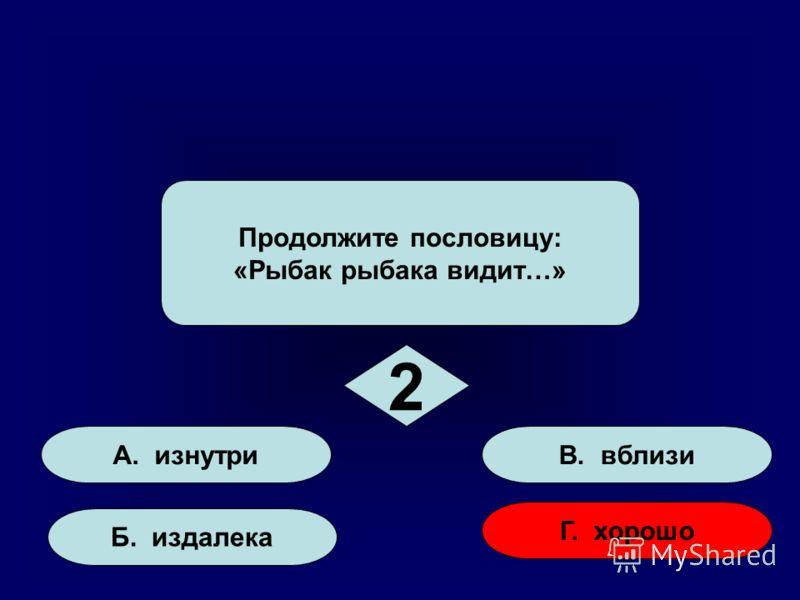 А. изнутри Б. издалека Г. хорошо В. вблизи Продолжите пословицу: «Рыбак рыбака видит…» 2