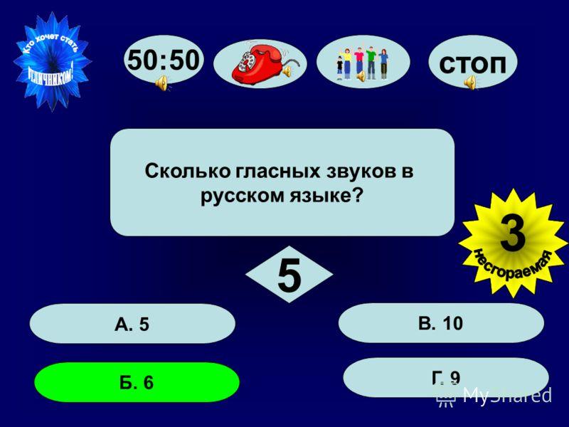 стоп А. 5 Б. 6 Г. 9 В. 10 Сколько гласных звуков в русском языке? 5