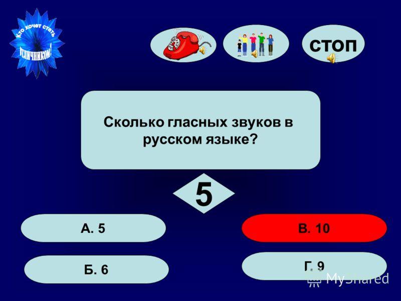 50:50 стоп А. 5 Б. 6 Г. 9 В. 10 Сколько гласных звуков в русском языке? 5 3