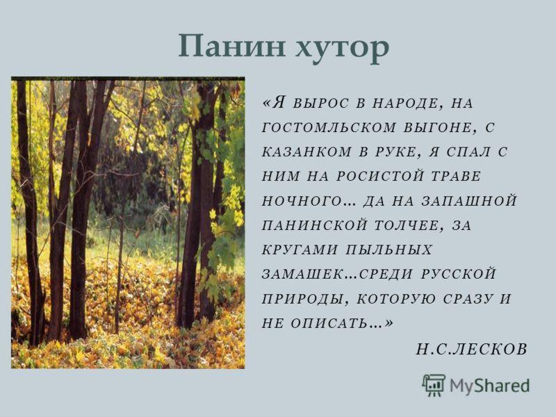 «Я ВЫРОС В НАРОДЕ, НА ГОСТОМЛЬСКОМ ВЫГОНЕ, С КАЗАНКОМ В РУКЕ, Я СПАЛ С НИМ НА РОСИСТОЙ ТРАВЕ НОЧНОГО … ДА НА ЗАПАШНОЙ ПАНИНСКОЙ ТОЛЧЕЕ, ЗА КРУГАМИ ПЫЛЬНЫХ ЗАМАШЕК … СРЕДИ РУССКОЙ ПРИРОДЫ, КОТОРУЮ СРАЗУ И НЕ ОПИСАТЬ …» Н.С.ЛЕСКОВ Панин хутор