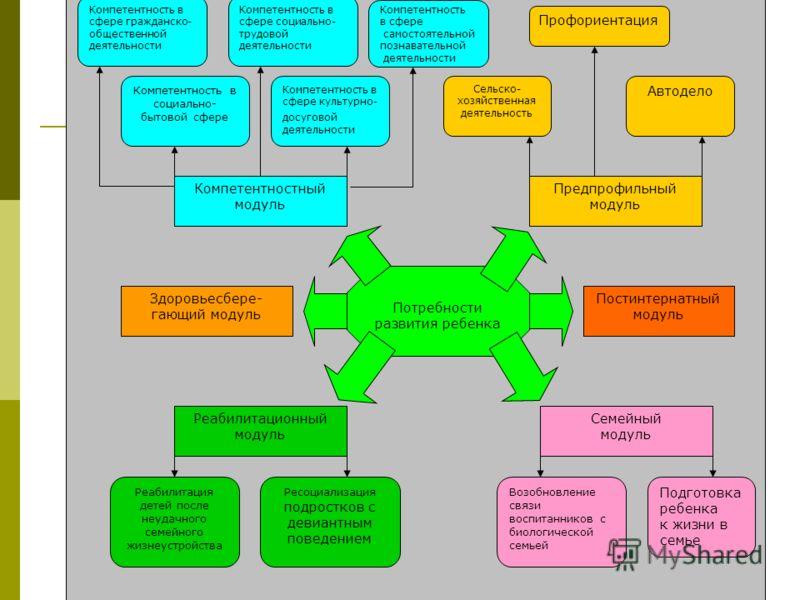 Модель реабилитационно- воспитательного процесса с новыми содержательными модулями Потребности развития ребенка Предпрофильный модуль Компетентностный модуль Постинтернатный модуль Здоровьесбере- гающий модуль Реабилитационный модуль Семейный модуль