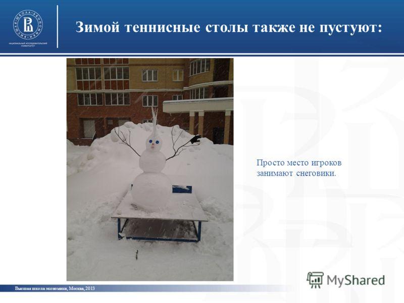 Зимой теннисные столы также не пустуют: Высшая школа экономики, Москва, 2013 Просто место игроков занимают снеговики.