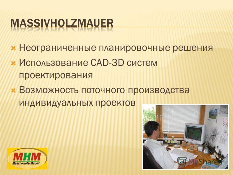 Неограниченные планировочные решения Использование CAD-3D систем проектирования Возможность поточного производства индивидуальных проектов