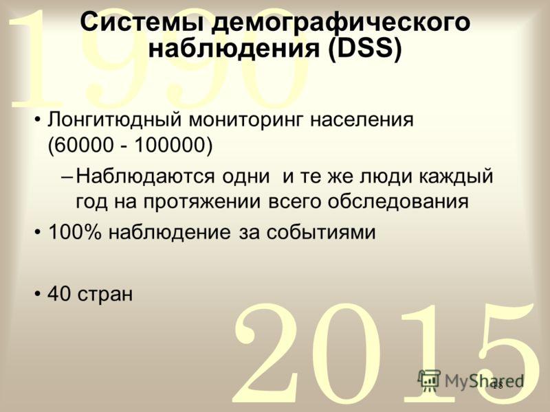 2015 1990 18 Системы демографического наблюдения (DSS) Лонгитюдный мониторинг населения (60000 - 100000) –Наблюдаются одни и те же люди каждый год на протяжении всего обследования 100% наблюдение за событиями 40 стран