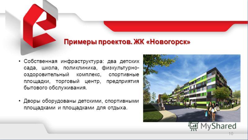 Примеры проектов. ЖК «Новогорск» 10 Собственная инфраструктура: два детских сада, школа, поликлиника, физкультурно- оздоровительный комплекс, спортивные площадки, торговый центр, предприятия бытового обслуживания. Дворы оборудованы детскими, спортивн