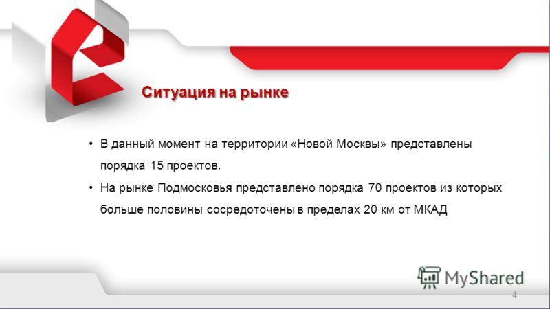 Ситуация на рынке 4 В данный момент на территории «Новой Москвы» представлены порядка 15 проектов. На рынке Подмосковья представлено порядка 70 проектов из которых больше половины сосредоточены в пределах 20 км от МКАД