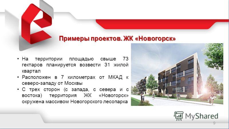 Примеры проектов. ЖК «Новогорск» 9 На территории площадью свыше 73 гектаров планируется возвести 31 жилой квартал Расположен в 7 километрах от МКАД к северо-западу от Москвы С трех сторон (с запада, с севера и с востока) территория ЖК «Новогорск» окр