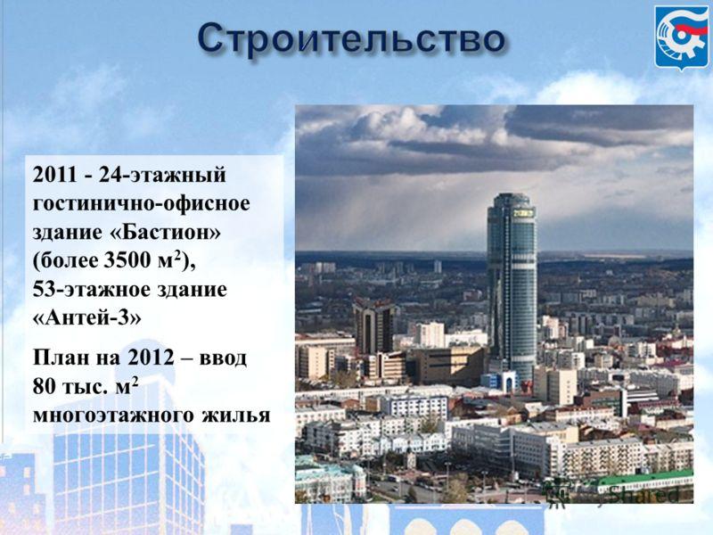 2011 - 24-этажный гостинично-офисное здание «Бастион» (более 3500 м 2 ), 53-этажное здание «Антей-3» План на 2012 – ввод 80 тыс. м 2 многоэтажного жилья