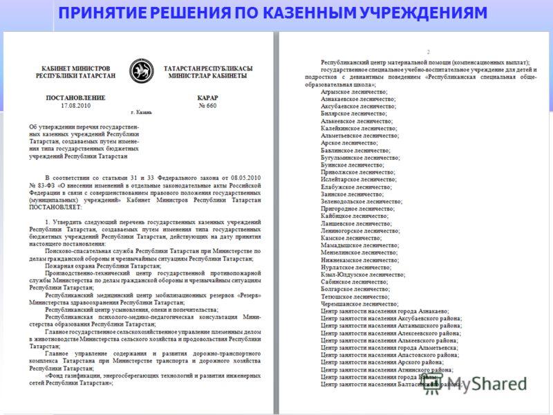 ПРИНЯТИЕ РЕШЕНИЯ ПО КАЗЕННЫМ УЧРЕЖДЕНИЯМ
