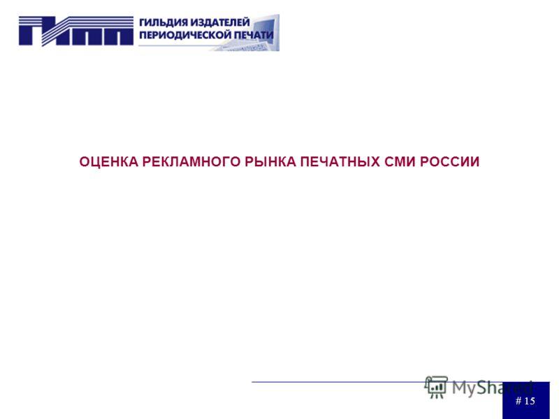 # 15 ОЦЕНКА РЕКЛАМНОГО РЫНКА ПЕЧАТНЫХ СМИ РОССИИ