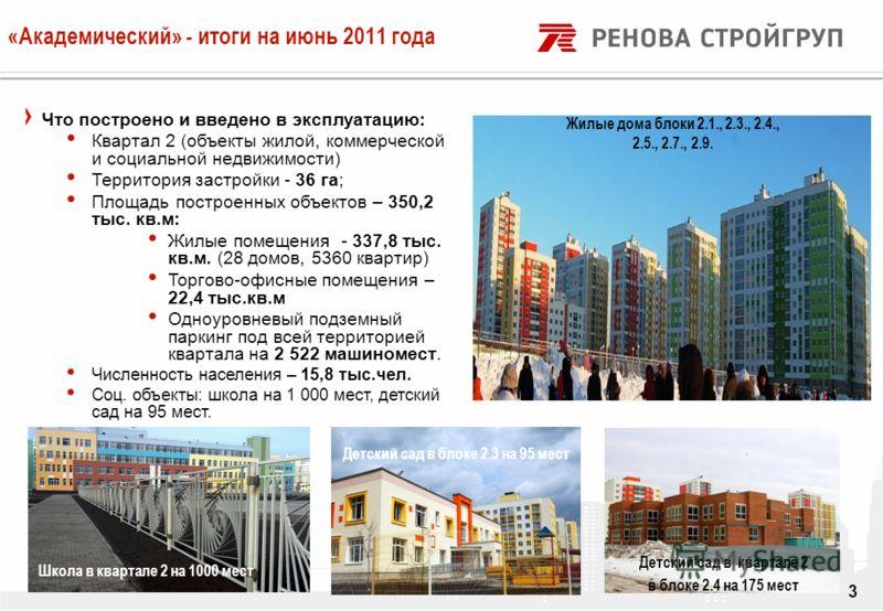 DRAFT «Академический» - итоги на июнь 2011 года 3 Что построено и введено в эксплуатацию: Квартал 2 (объекты жилой, коммерческой и социальной недвижимости) Территория застройки - 36 га; Площадь построенных объектов – 350,2 тыс. кв.м: Жилые помещения