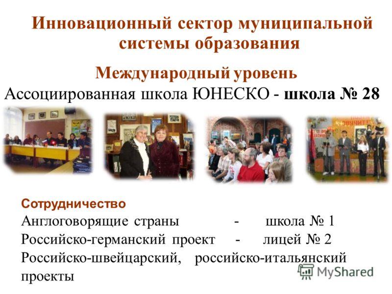 Международный уровень Ассоциированная школа ЮНЕСКО - школа 28 Инновационный сектор муниципальной системы образования Сотрудничество Англоговорящие страны - школа 1 Российско-германский проект - лицей 2 Российско-швейцарский, российско-итальянский про
