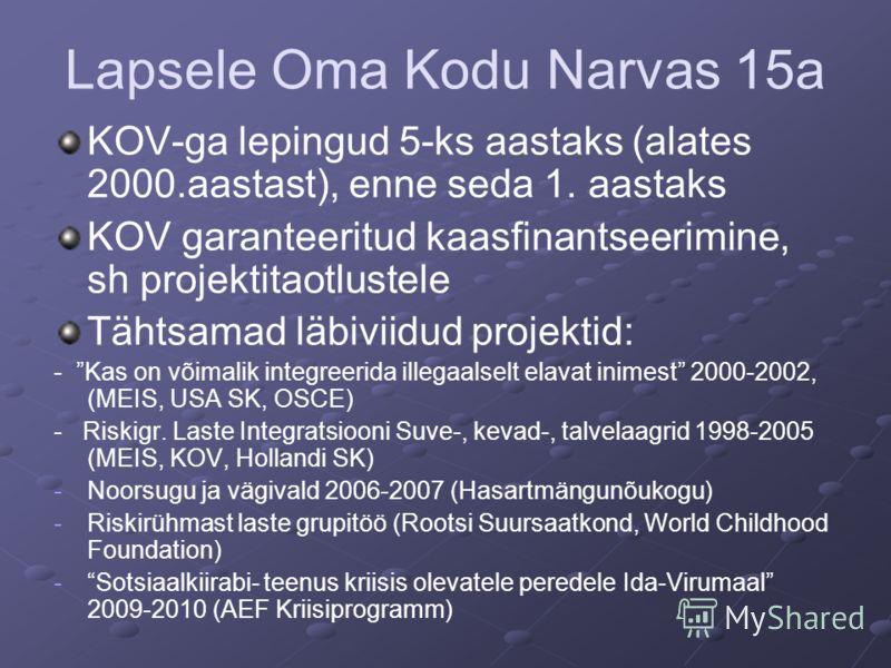 Lapsele Oma Kodu Narvas 15a KOV-ga lepingud 5-ks aastaks (alates 2000.aastast), enne seda 1. aastaks KOV garanteeritud kaasfinantseerimine, sh projektitaotlustele Tähtsamad läbiviidud projektid: - Kas on võimalik integreerida illegaalselt elavat inim