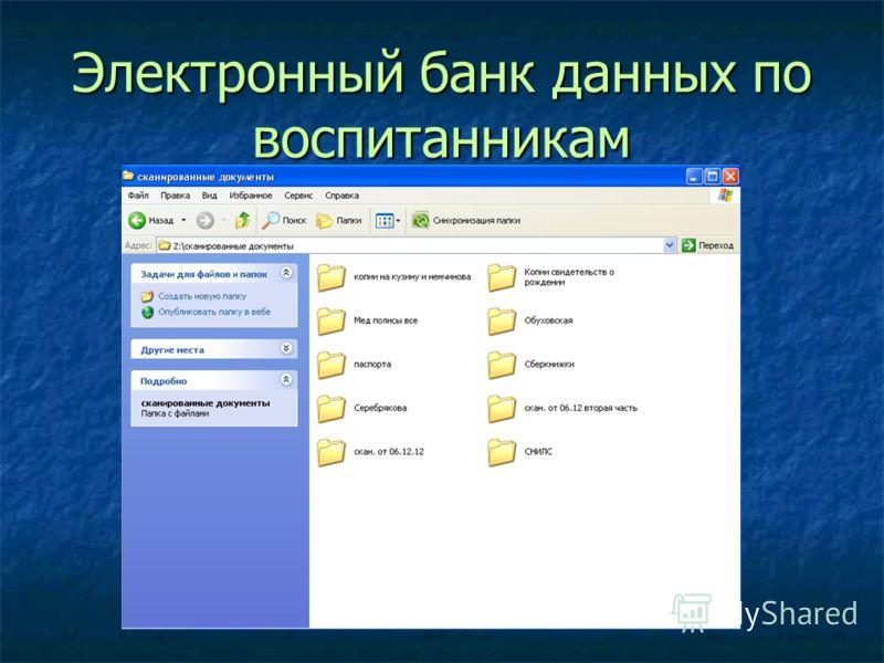 Электронный банк данных по воспитанникам