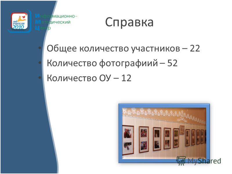 Справка Общее количество участников – 22 Количество фотографиий – 52 Количество ОУ – 12