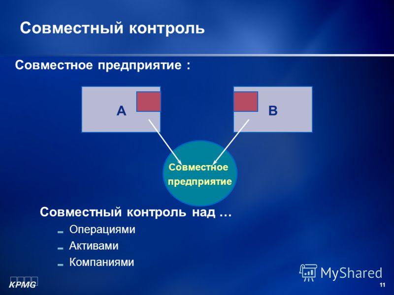 11 Совместный контроль AB Совместное предприятие Совместный контроль над … Операциями Активами Компаниями Совместное предприятие :
