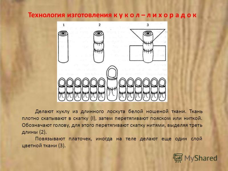 Технология изготовления к у к о л – л и х о р а д о к Делают куклу из длинного лоскута белой ношеной ткани. Ткань плотно скатывают в скатку (I), затем перетягивают пояском или ниткой. Обозначают голову, для этого перетягивают скатку нитями, выделяя