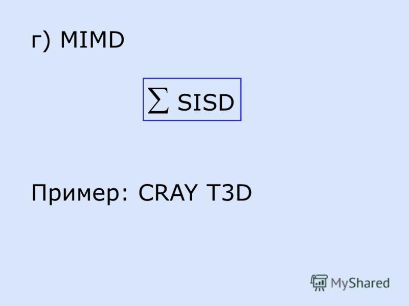 г) MIMD SISD Пример: CRAY T3D