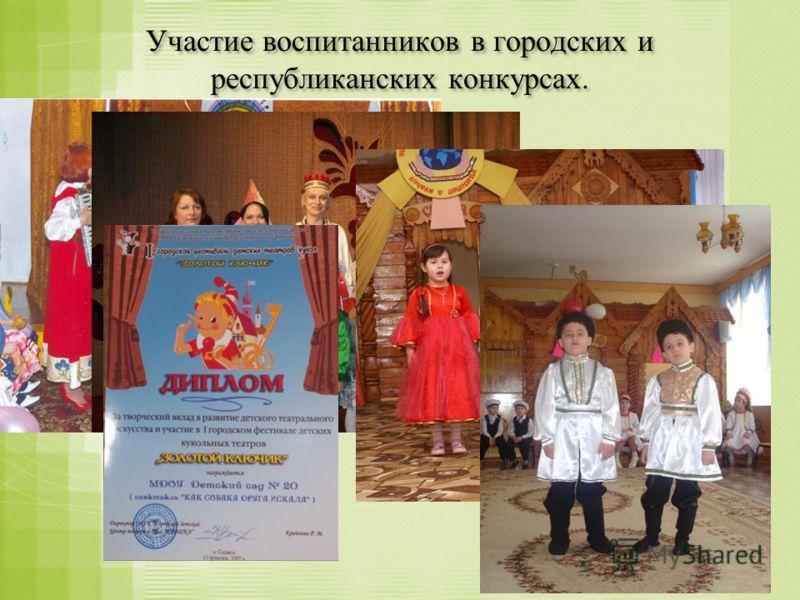 Участие воспитанников в городских и республиканских конкурсах.