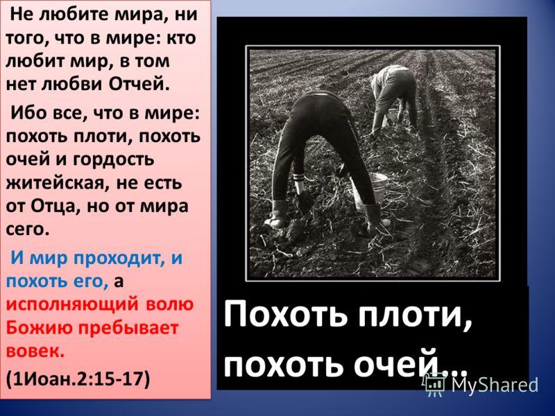 Похоть плоти, похоть очей… Не любите мира, ни того, что в мире: кто любит мир, в том нет любви Отчей. Ибо все, что в мире: похоть плоти, похоть очей и гордость житейская, не есть от Отца, но от мира сего. И мир проходит, и похоть его, а исполняющий в