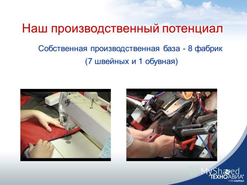 Наш производственный потенциал Собственная производственная база - 8 фабрик (7 швейных и 1 обувная) Собственная производственная база - 8 фабрик (7 швейных и 1 обувная) Наш производственный потенциал