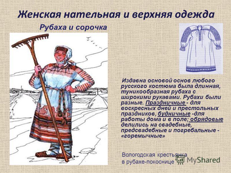 Женская нательная и верхняя одежда Рубаха и сорочка Издавна основой основ любого русского костюма была длинная, туникообразная рубаха с широкими рукавами. Рубахи были разные. Праздничные - для воскресных дней и престольных праздников, будничные -для