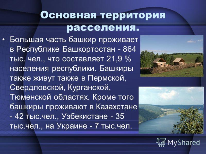 Основная территория расселения. Большая часть башкир проживает в Республике Башкортостан - 864 тыс. чел., что составляет 21,9 % населения республики. Башкиры также живут также в Пермской, Свердловской, Курганской, Тюменской областях. Кроме того башки