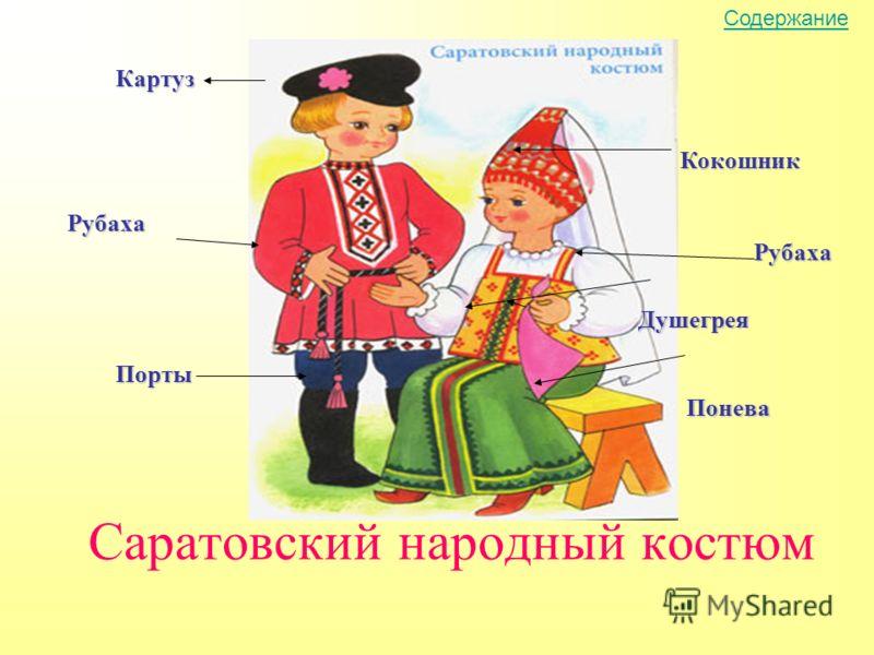 Саратовский народный костюм Кокошник Душегрея Понева Рубаха Картуз Рубаха Порты Содержание