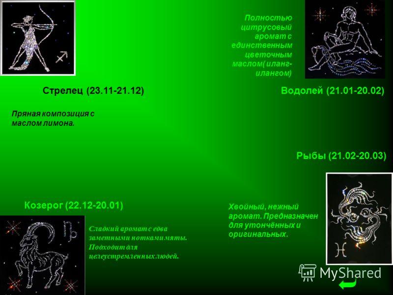 Стрелец (23.11-21.12) Козерог (22.12-20.01) Водолей (21.01-20.02) Рыбы (21.02-20.03) Сладкий аромат с едва заметными нотками мяты. Подходит для целеустремленных людей. Пряная композиция с маслом лимона. Полностью цитрусовый аромат с единственным цвет