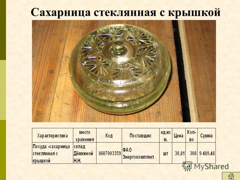 Сахарница стеклянная с крышкой