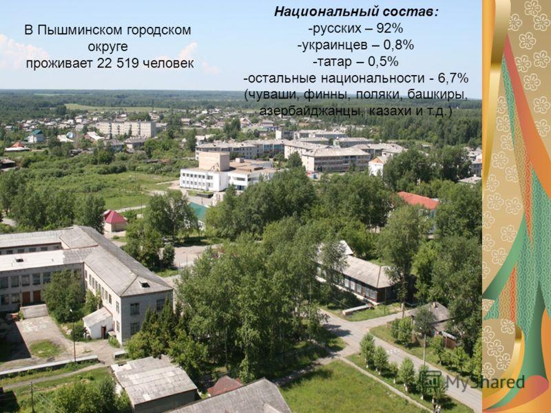 Национальный состав: -русских – 92% -украинцев – 0,8% -татар – 0,5% -остальные национальности - 6,7% (чуваши, финны, поляки, башкиры, азербайджанцы, казахи и т.д.) В Пышминском городском округе проживает 22 519 человек