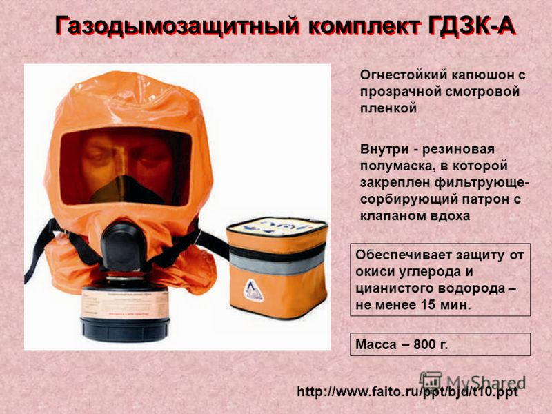 http://www.faito.ru/ppt/bjd/t10.ppt Газодымозащитный комплект ГДЗК-А Огнестойкий капюшон с прозрачной смотровой пленкой Внутри - резиновая полумаска, в которой закреплен фильтрующе- сорбирующий патрон с клапаном вдоха Обеспечивает защиту от окиси угл